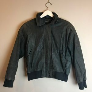 Distressed Green Leather Bomber Jacket Coat Medium